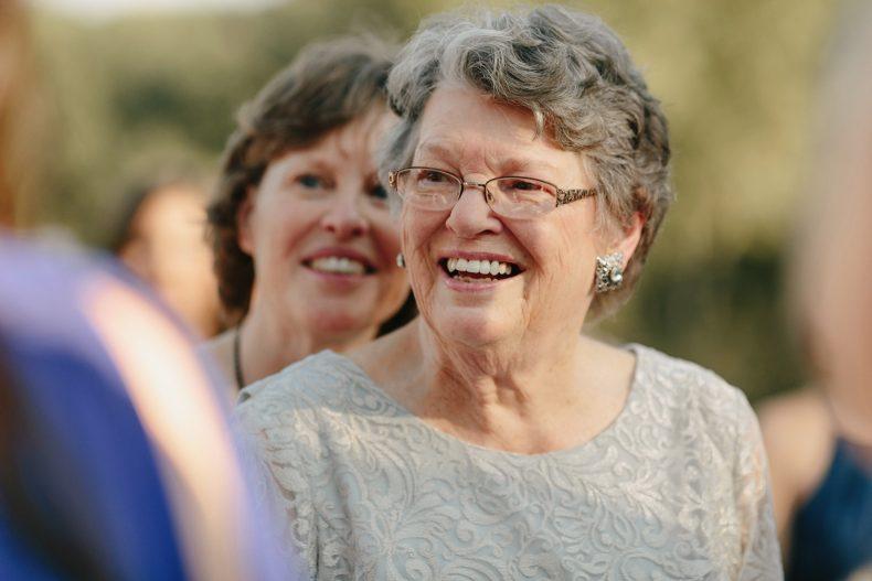 grandmother smiling at wedding