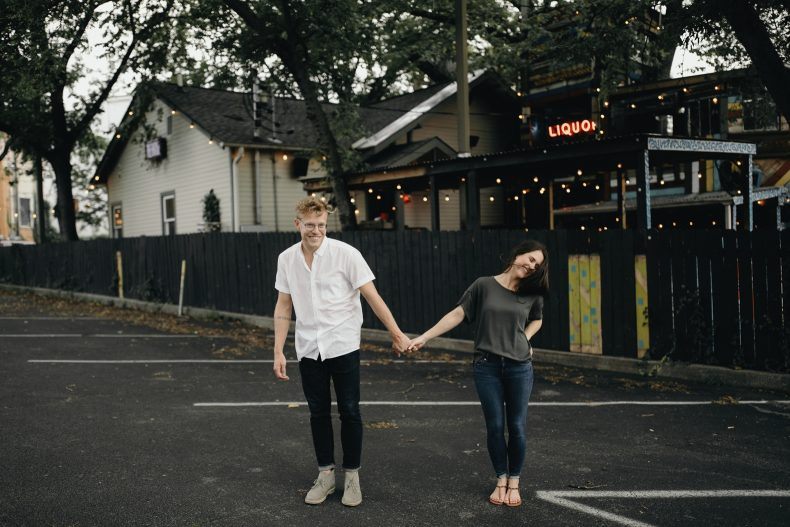 couple in parking lot of treehouse restaurant in east nashville